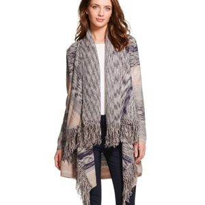 Knox Rose | Textured Fringe Open Front Cardigan M